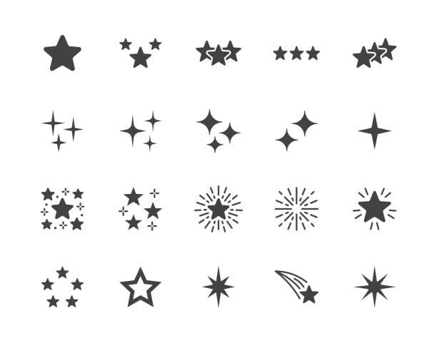 звезды плоский глиф иконы набор. звездная ночь, падающее звезда, фейерверк, мерцание, свечение, блеск всплеска векторных иллюстраций. черны� - блестящий stock illustrations