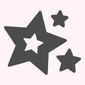 Stars glyph icon. Big and small shapes. Astronomy vector design concept, solid style pictogram on white background, use for web and app. Eps 10