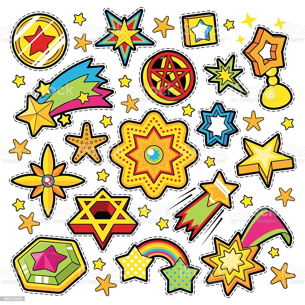 Stars Golden Decorative Elements for Scrapbook, Stickers, Patches, Badges royalty-free stars golden decorative elements for scrapbook stickers patches badges stock vector art & more images of abstract