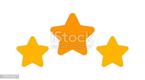 istock 3 stars icon cute isolated on white background, cartoon star shape yellow orange, illustration simple star rating symbol, clip art 3 star for logo, pentagram star for decoration ranking award 1253192977