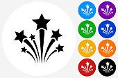 Stars Icon on Flat Color Circle Buttons. This 100% royalty free vector illustration features the main icon pictured in black inside a white circle. The alternative color options in blue, green, yellow, red, purple, indigo, orange and black are on the right of the icon and are arranged in two vertical columns.