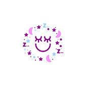 Sleeping stars and moon, dream symbol, sleep concept, vector creative illustration