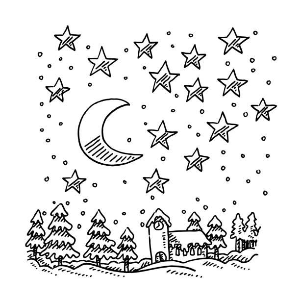 Stars Moon Winter Night Landscape Drawing vector art illustration