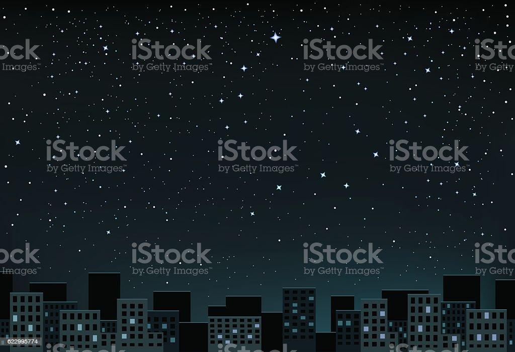 stars night over city vector art illustration