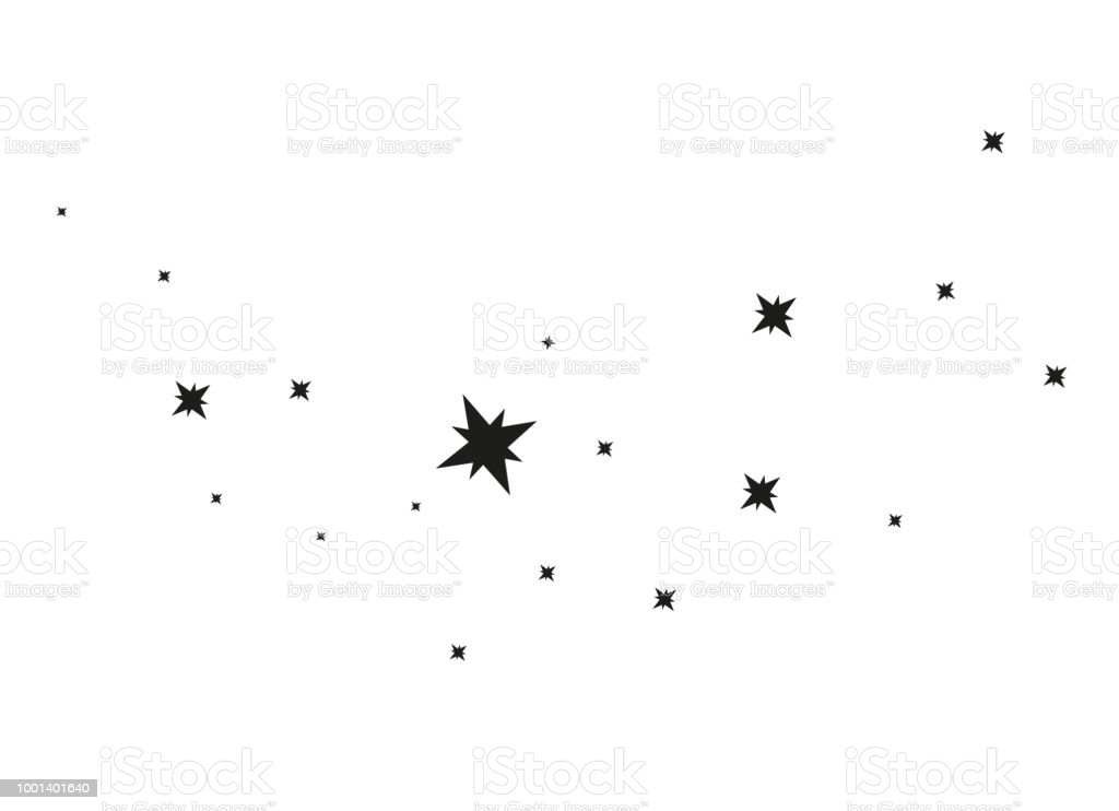 Stars on a white background. Black star shooting with an elegant...