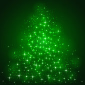 Green background with shining stars and blurry lights, illustration.