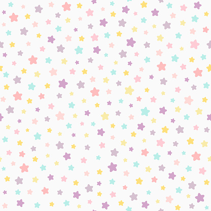 Stars pastel color seamless pattern. Baby colors pink, violet, yellow, mint. Neutral light background.