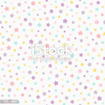 Stars pastel color seamless pattern. Baby colors pink, violet, yellow, mint. Classic neutral light background. Confetti star polka dot. Birthday card backdrop. Surface print. Textile fabric design.