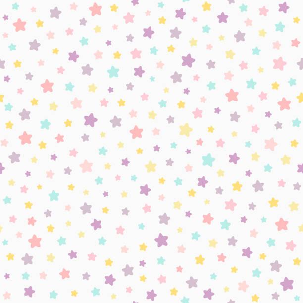 スターパステルカラーのシームレスなパターン。ベビーカラーピンク、バイオレット、イエロー、ミント。ニュートラルライトの背景。 - 赤ちゃん点のイラスト素材/クリップアート素材/マンガ素材/アイコン素材