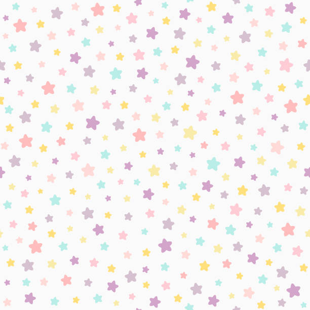 ilustrações de stock, clip art, desenhos animados e ícones de stars pastel color seamless pattern. baby colors pink, violet, yellow, mint. neutral light background. - baby