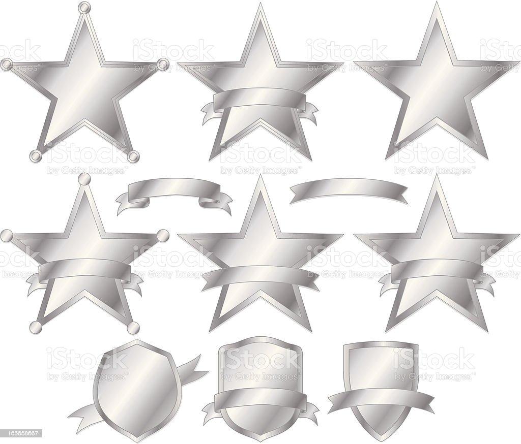 Stars, Polizei Abzeichen und Wappen-Set-Silber Lizenzfreies stars polizei abzeichen und wappensetsilber stock vektor art und mehr bilder von abzeichen