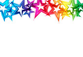 Stars rainbow scatter glitter shine confetti celebration party on white abstract background vector illustration
