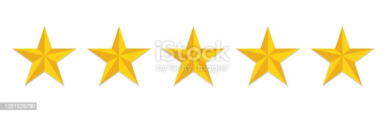 5 stars rating flat icon. Yellow like sign feedback customer of evaluation quality. Five star hotel logo. Satisfaction rank of service. Positive opinion icon. vector
