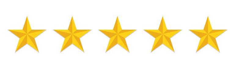 5 stars rating flat icon. Yellow like sign feedback customer of evaluation quality. Five star hotel logo. Satisfaction rank of service. Positive opinion icon. vector.