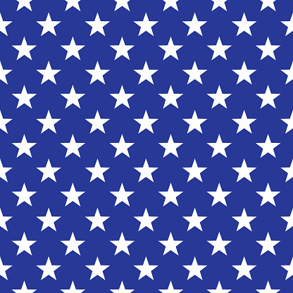 Vector seamless pattern of white stars on a dark blue background.