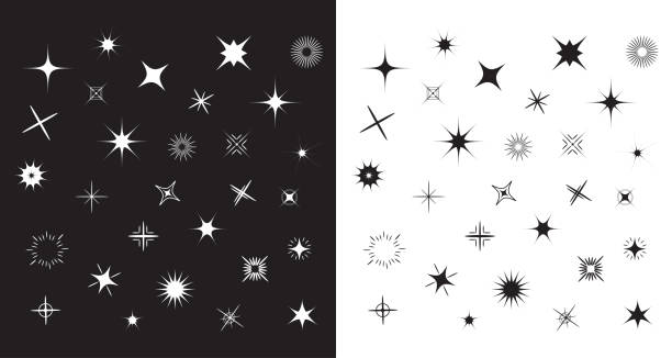 stars sparkles sign symbol set. cute shape collection. decoration element. black and white background. flat design. - spark stock illustrations