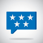 Vector illustration of a blue speech bubble with 5 stars against a grey background.