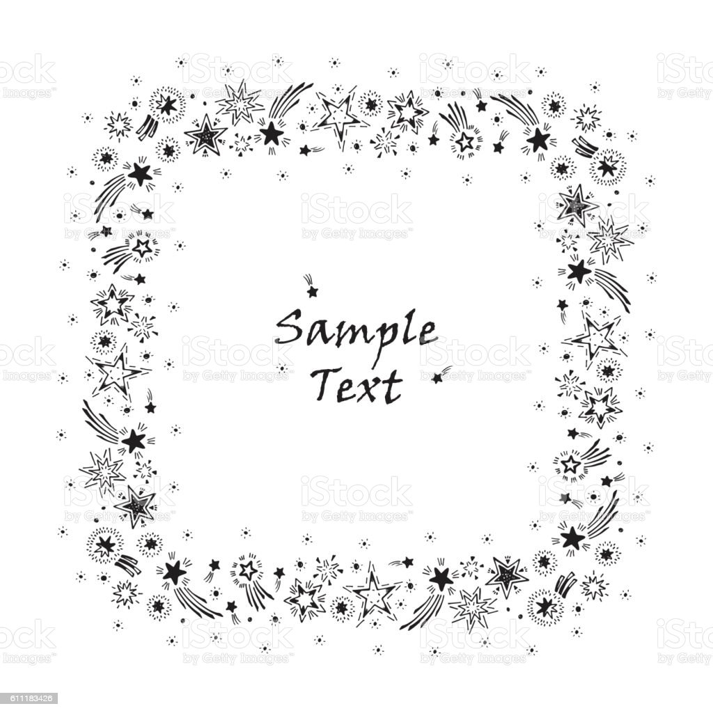 Holiday Card Template | Stars Square Frame Hand Drawn Doodle Stars Holiday Card Template