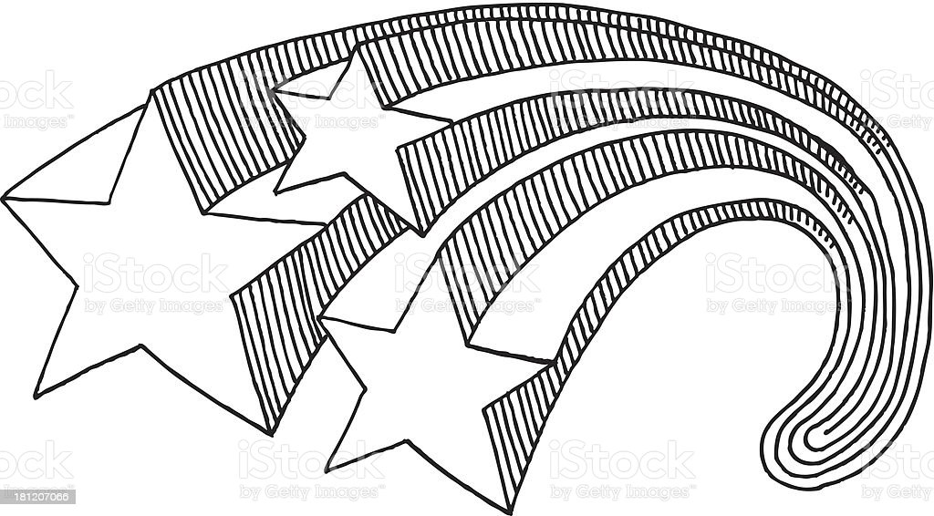 Stars Swoosh Drawing vector art illustration