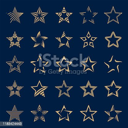 Set of gold stars on dark background. Vector icon set.