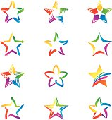 Set of colored stars, different variations