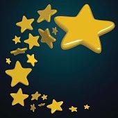 flying Golden stars on blue background, vector illustration