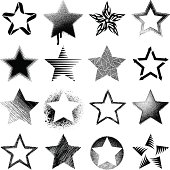 Set of stars, different variations.