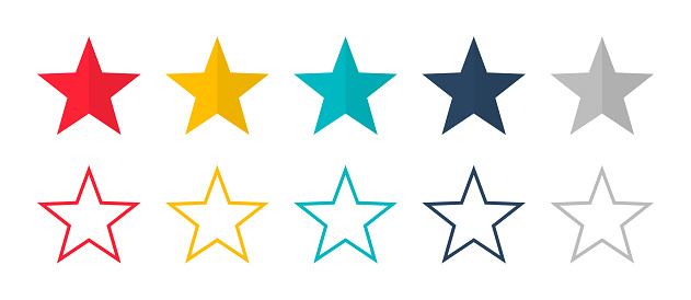 Stars vector isolated colored icon. Linear colored stars. Set of colored stars symbol or signs.