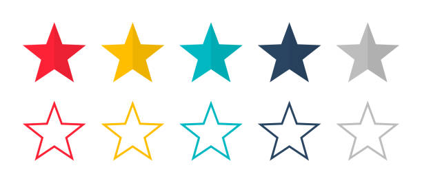 Stars vector isolated colored icon. Linear colored stars. Set of colored stars symbol or signs. Stars vector isolated colored icon. Linear colored stars. Set of colored stars symbol or signs. EPS 10 stars stock illustrations