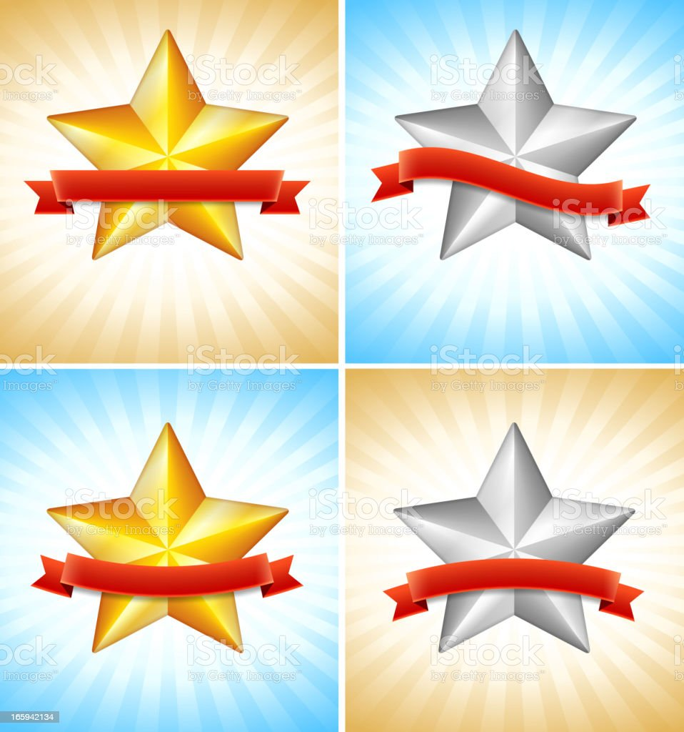 Stars with Ribbons on royalty free vector Background royalty-free stars with ribbons on royalty free vector background stock vector art & more images of advertisement
