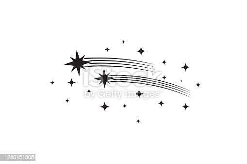 Stars with trails. Comets black silhouettes. Star shooting and stardust, rocket trail vector illustration. Trail tail star, silhouette of firework, asterisk group