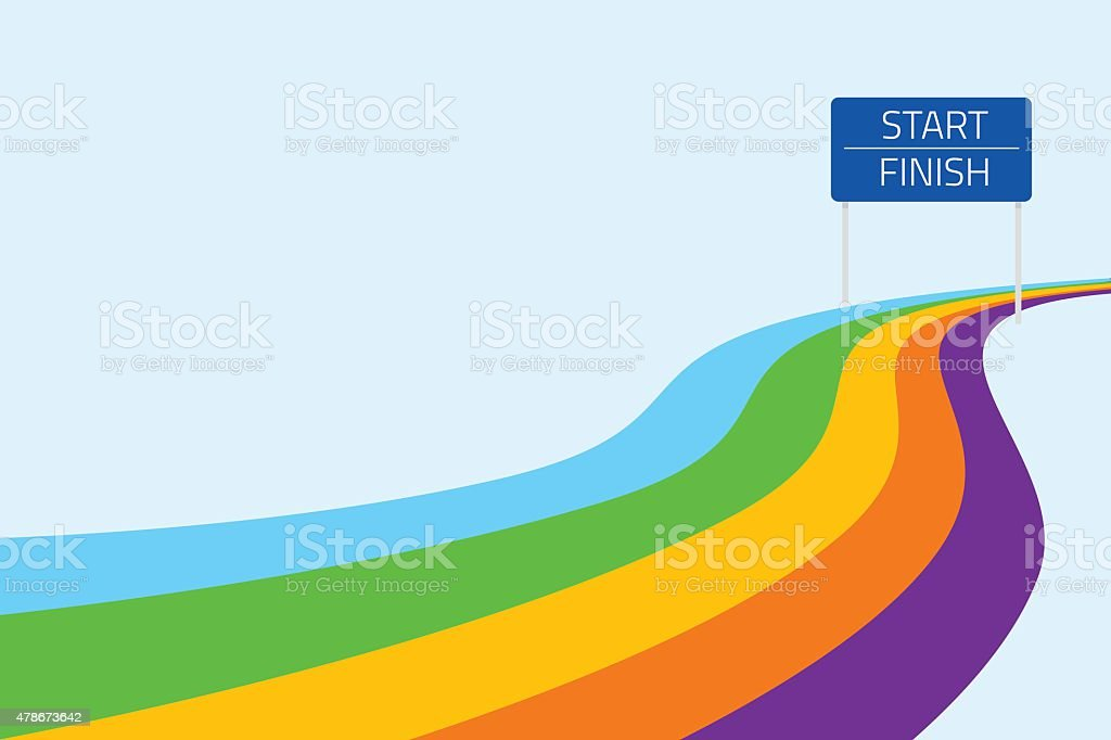 Start and finish line with colorful path vector art illustration