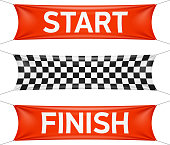 Start and finish race banners in red and checkers