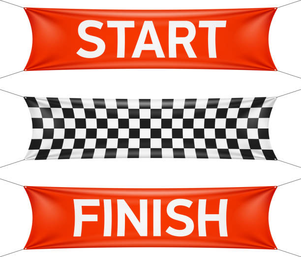 Start and finish race banners in red and checkers Vector illustration with transparent effect. Eps10. finishing stock illustrations