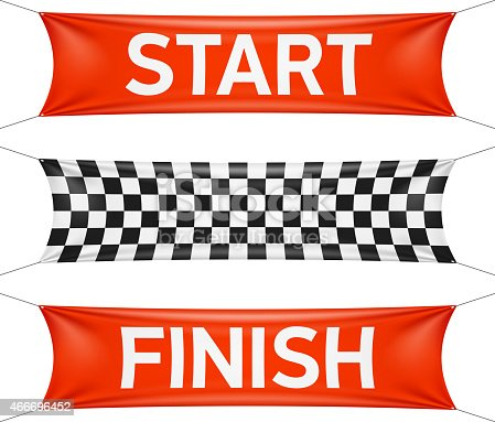 Start And Finish Race Banners In Red And Checkers Stock ...