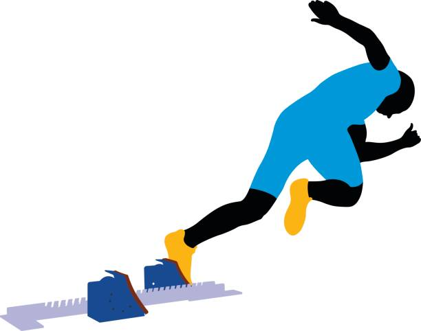 illustrations, cliparts, dessins animés et icônes de start athlete sprinter - starting block