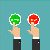 Start button and stop button. Push the buttons. Green and red buttons. Green background. Vector illustration