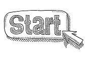 Hand-drawn vector drawing of a Start Button and a Cursor Symbol. Black-and-White sketch on a transparent background (.eps-file). Included files are EPS (v10) and Hi-Res JPG.