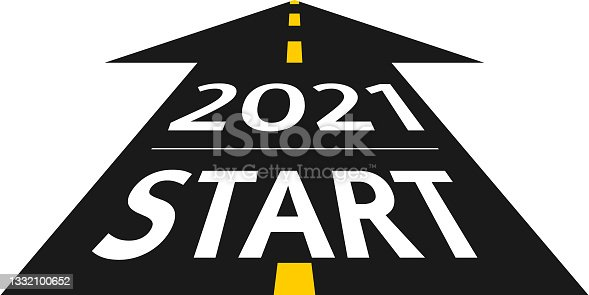 istock 2021 start concept. New Year 2021  on the road in the form of an arrow in flat design. Vector illustration 1332100652