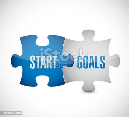 Start goals puzzle pieces illustration design over a white background