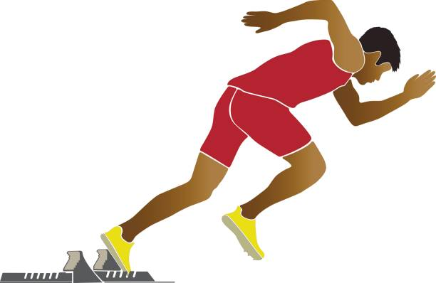 illustrations, cliparts, dessins animés et icônes de start of sprinter runner - starting block