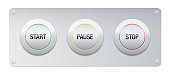 Start, pause, stop button on a metallic panel for instruments, machines, gadgets. But also symbolic for work routine, business life, projects, lifestyle, relationships and many other issues or technology.