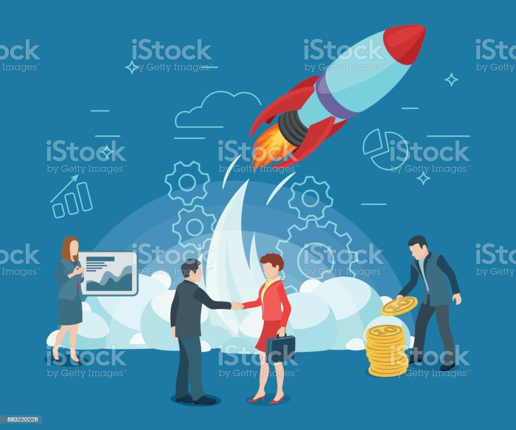 Start rocket ship in a flat style. Business startup work moments flat banner. New ideas, search for investor, increased profits. vector art illustration