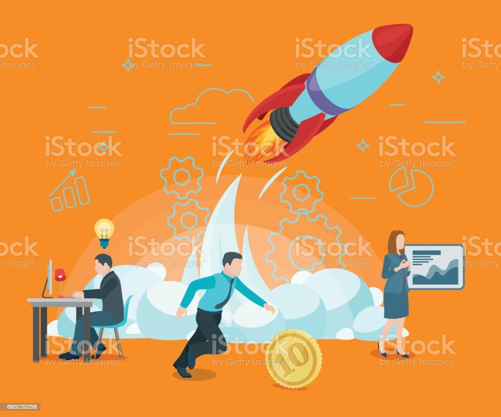 Start rocket ship in a flat style. Startup work moments. The presentation, search for investor, promotion. vector art illustration