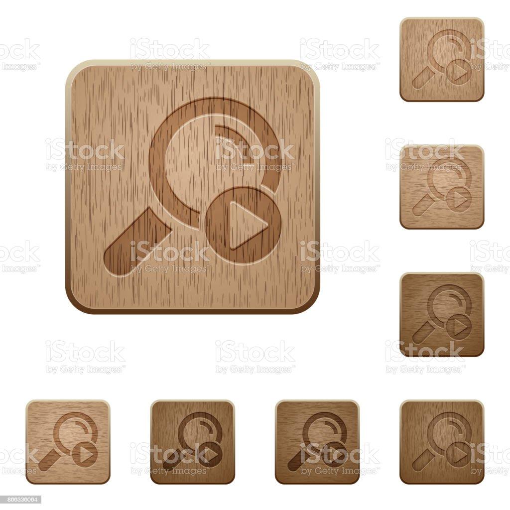 Start search wooden buttons vector art illustration