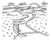 Hand-drawn vector drawing of a Landscape with a Start Sign and a Path to the Sun. Black-and-White sketch on a transparent background (.eps-file). Included files are EPS (v10) and Hi-Res JPG.