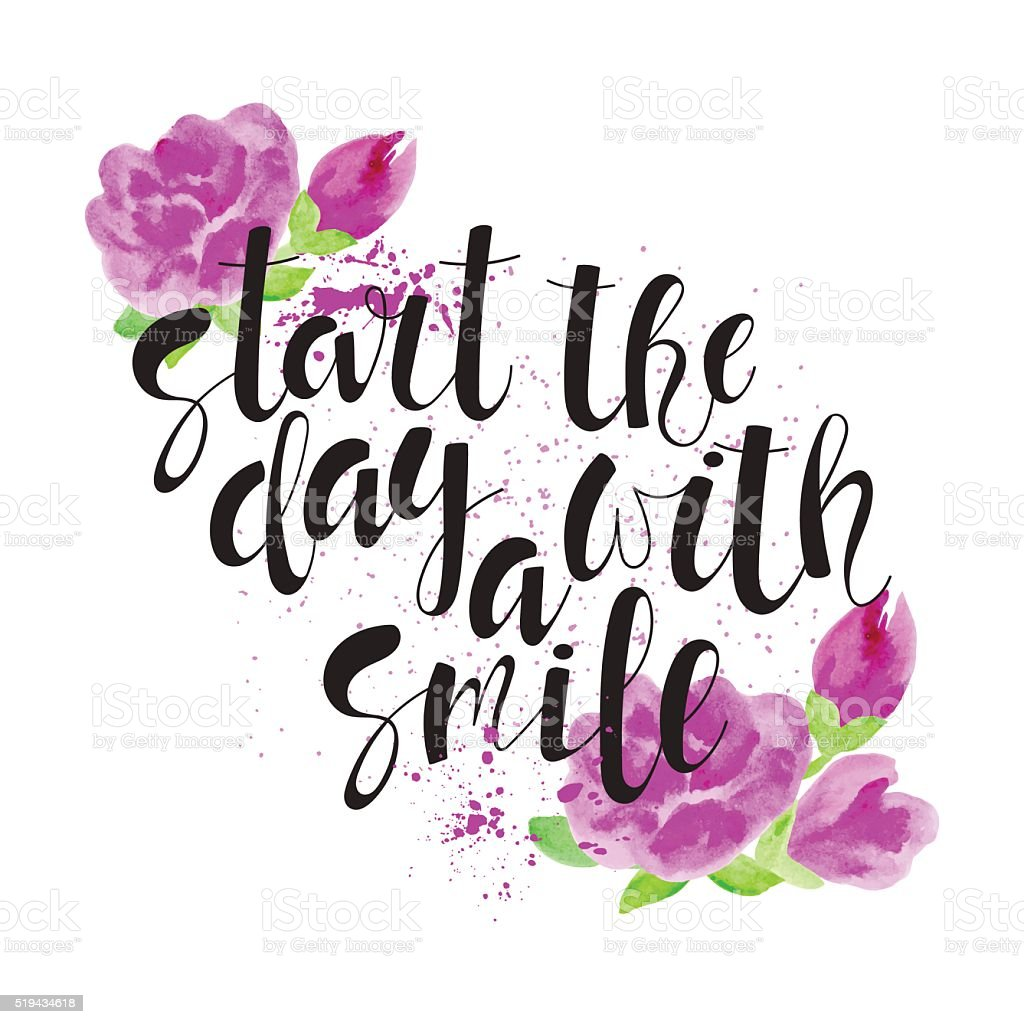 Start The Day With A Smile Motivational Quote Stockvectorkunst En