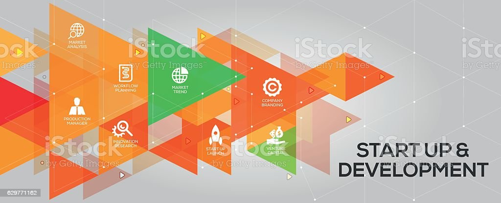 Start up and Development banner and icons vector art illustration
