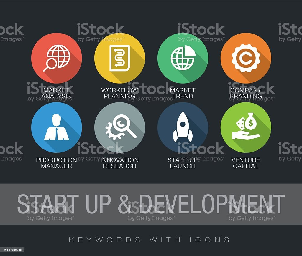 Start up and Development keywords with icons - ilustración de arte vectorial