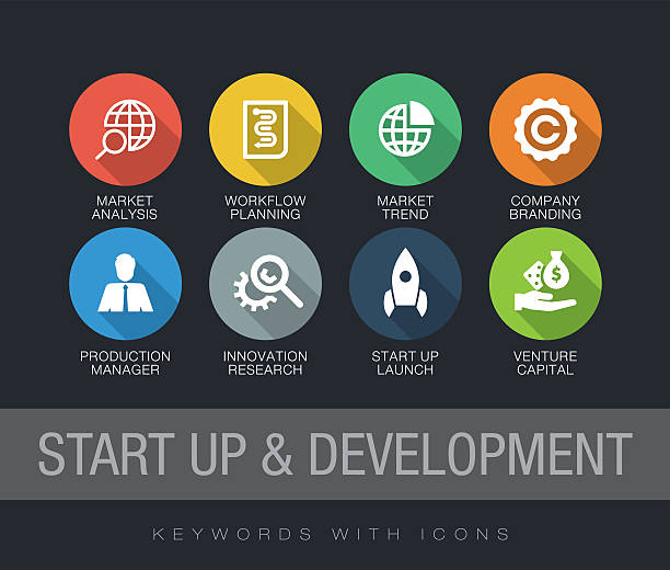 start up and development keywords with icons - 긴 그림자 그림자 stock illustrations